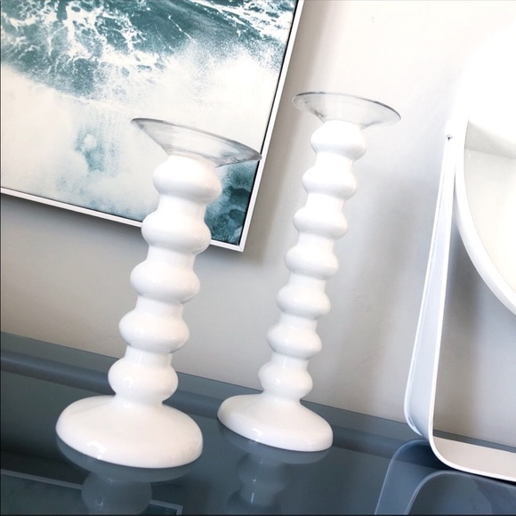 Decorative White Glass Candle Holders Set of 2